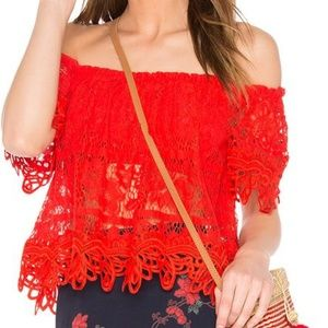 Free People Red Lace OTS Croptop